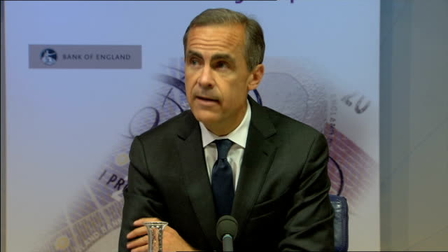 bank of england press conference; england: london: bank: int mark carney , spencer dale , sir jon cunliffe , nils blythe and andrew bailey entering... - durability stock videos & royalty-free footage