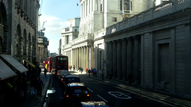 Bank Of England Viewed From Double-Decker Bus (4K/UHD to HD)
