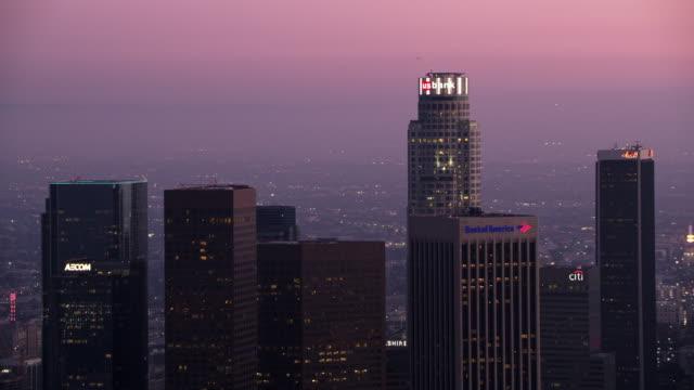 AERIAL U.S. Bank Tower building in Los Angeles at dusk