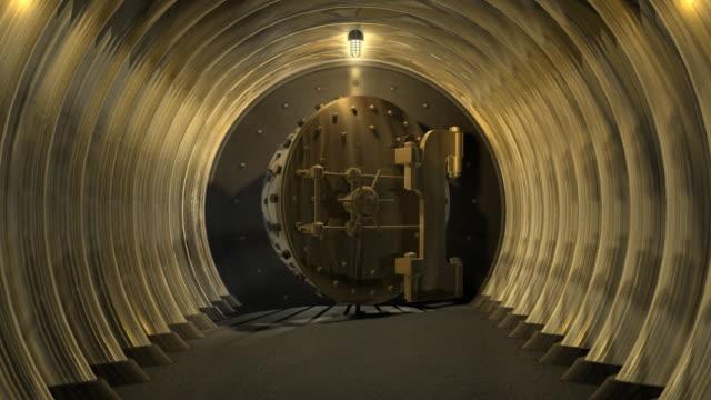 cgi ws zi zo bank vault door opening and revealing white interior before door melts down - bank stock-videos und b-roll-filmmaterial