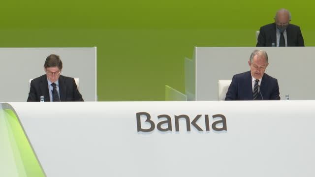 bankia chairman josé ignacio goirigolzarri during bankia's ordinary general shareholders' meeting on march 23rd 2021, at the palacio de congresos, in... - 会長点の映像素材/bロール