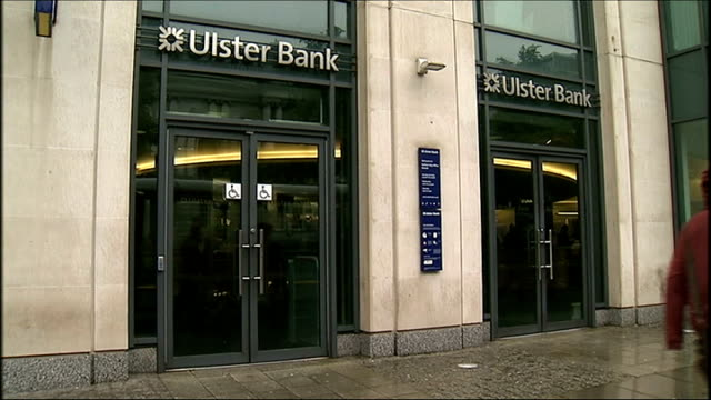 jobs cut at ulster bank; northern ireland: ext general views ulster bank branch and sign - banking sign stock videos & royalty-free footage