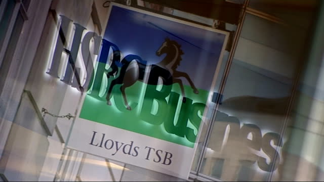 banks accused of withdrawing lending to business; graphicised seqeunce bank signs - lloyds tsb, hsbs business, rbs - financial accessory stock videos & royalty-free footage