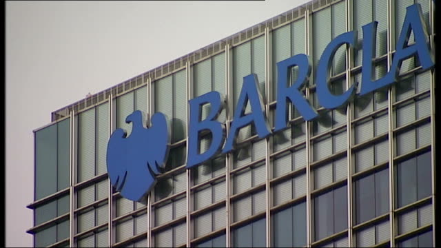 barclays plans 5.8 billion pound cash call; england: london: ext 'barclays' sign and logo on office building barclays building - banking sign stock videos & royalty-free footage