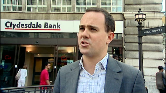 Clydesdale and Yorkshire Banks undercharging mortgage customers Simon Lambert interview SOT Entrance to Clydesdale Bank as Pedestrians along past...