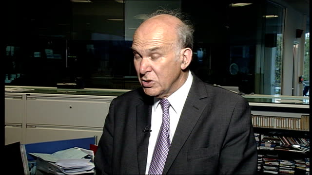 bradford and bingley close to collapse; general views of brandford and bingley branch and sign int vince cable mp interview sot ext reporter to camera - banking sign stock videos & royalty-free footage