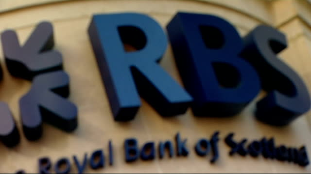 'exposed documents' show rbs could be sold to canadian banks; england: london: ext royal bank of scotland - rbs - sign over bank entrance int rupert... - banking sign stock videos & royalty-free footage