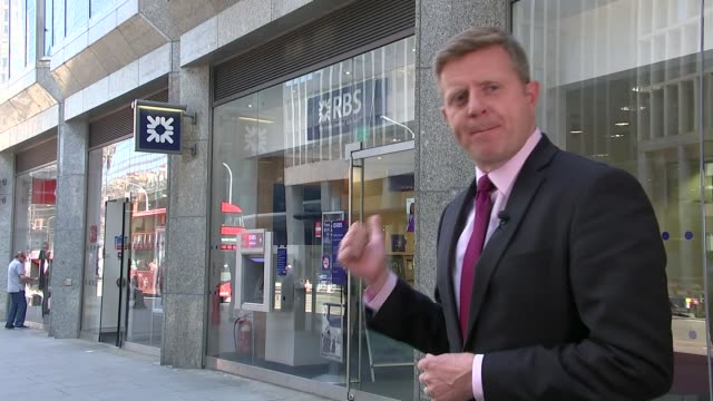 government plan to sell off rbs shares criticised by labour; ext reporter to camera chris leslie mp interview sot black horse sign outside lloyds... - banking sign stock videos & royalty-free footage