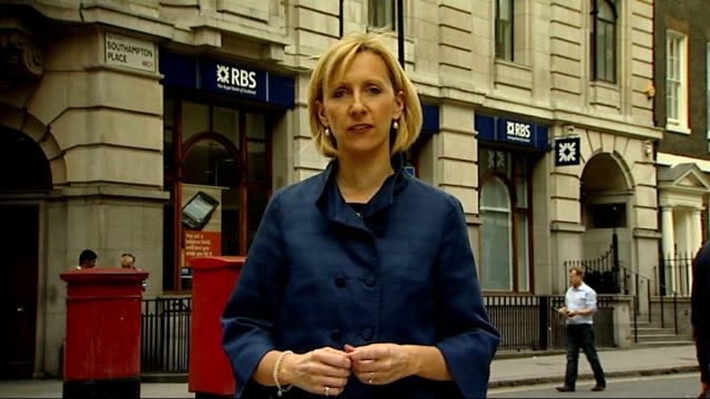 government to sell off northern rock bank ext reporter to camera vox pops reporter and anthony thomson along inside bank branch ext metro bank sign... - banking sign stock videos and b-roll footage