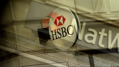 government to sell off northern rock bank; graphicised sequence showing hsbc sign / natwest sign / rbs sign - banking sign stock videos & royalty-free footage