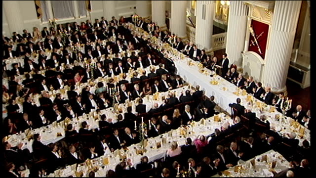 government to sell off northern rock bank mansion house int osborne speaking high angle view of guests applauding at the lord mayor's dinner for... - lord mayor of london city of london stock videos & royalty-free footage