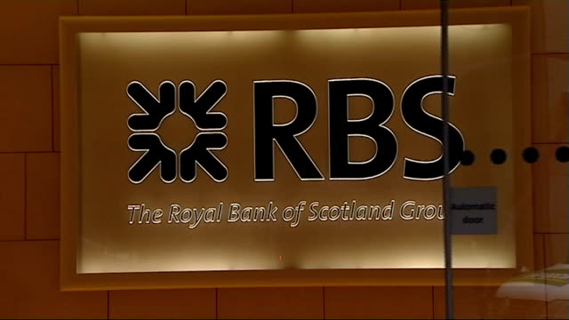 new rbs chief ross mcewan to take up his job in october 2013; england: london: ext rbs sign at headquarters - banking sign stock videos & royalty-free footage