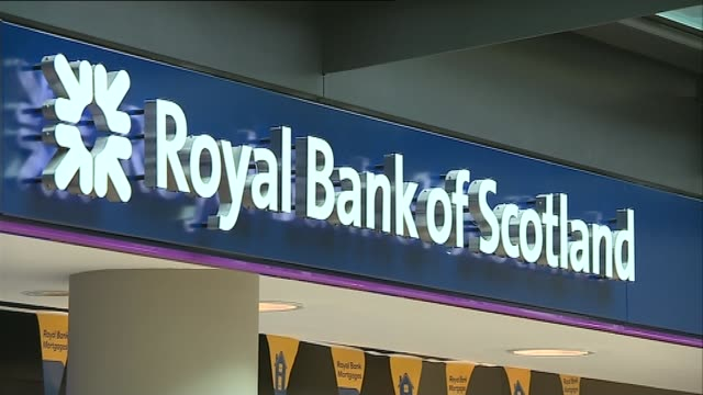 reports losses of more than 2 billion pounds; tx 17.6.2015 / t17061525 scotland: edinburgh: int sign over branch of the royal bank of scotland cash... - banking sign stock videos & royalty-free footage