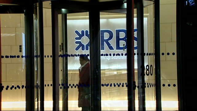 royal bank of scotland set for 8 billion pound loss; england: london: ext / night close shot rbs bank sign at royal bank of scotland headquarters rbs... - banking sign stock videos & royalty-free footage