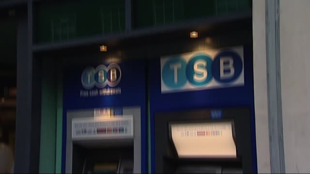 tsb online banking failure continues into fifth day t09091322 london ext gvs tsb branch sign and cash machine - banking sign stock videos and b-roll footage