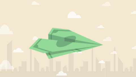 banknote paper plane flying over the air with city background (business concept cartoon) - exchanging stock videos & royalty-free footage