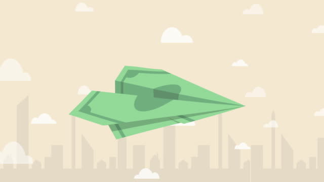 banknote paper plane flying over the air with city background (business concept cartoon) - leadership illustration stock videos & royalty-free footage