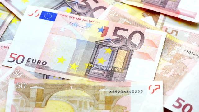 banknotes in denominations of 50 euros - euro symbol stock videos & royalty-free footage