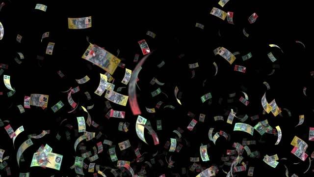 vídeos de stock, filmes e b-roll de notas do dólar australiano, 100 aud, 50 aud e 20 aud misto, loop de fundo animado, fluxo, explosão 4k loop perfeito, chave chroma, vídeo de estoque - cultura australiana