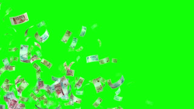 vídeos de stock, filmes e b-roll de notas do real, 100 brl, r$ 50 e 10 brl mistos, loop de fundo animado, fluxo, explosão 4k loop sem emenda, chave chroma, stock video - nota