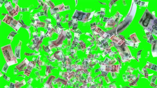 banknotes of the china yuan renminbi, 100 cny, 50 cny and 20 cny mixed, animated background loop, flow, explosion 4k seamless loop, chroma key, stock video - banknote stock videos & royalty-free footage