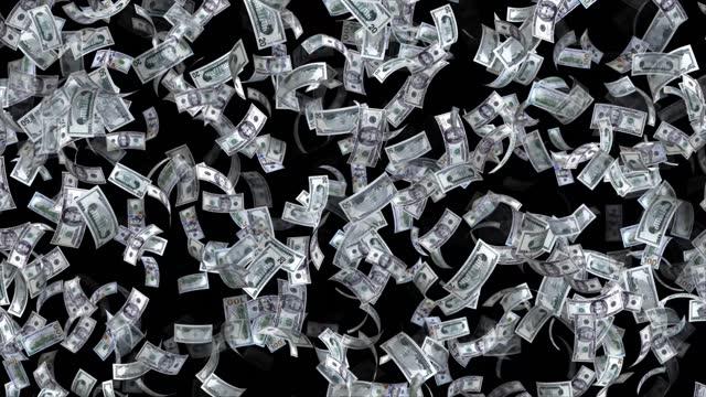 米国ドル、100米ドル、50 usdと20米ドル混合、アニメーションバックグラウンドループ、フロー、爆発4kシームレスループ、クロマキー、ストックビデオの紙幣 - 金銭に関係ある物点の映像素材/bロール
