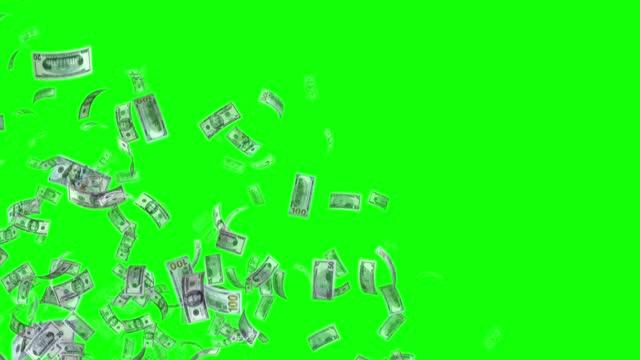 vidéos et rushes de billets de banque du dollar américain américain, 100 usd, 50 usd et 20 usd mixte, boucle de fond animée, flux, explosion 4k boucle sans couture, clé chroma, vidéo stock - billet de dollars américains