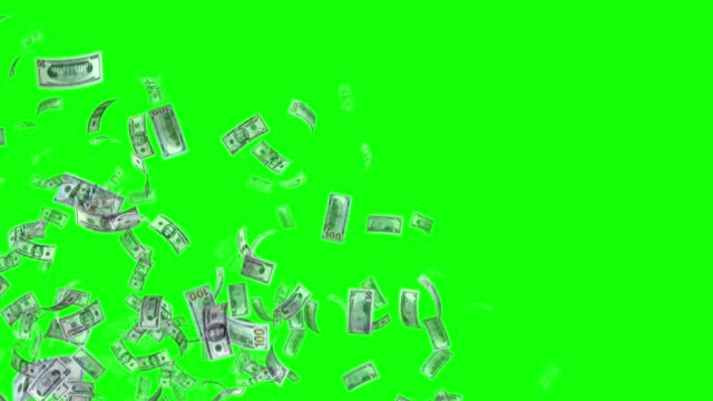 vídeos de stock e filmes b-roll de banknotes of the us american dollar, 100 usd, 50 usd and 20 usd mixed, animated background loop, flow, explosion 4k seamless loop, chroma key, stock video - nota de dólar dos estados unidos