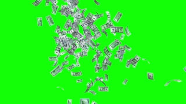 vídeos de stock e filmes b-roll de banknotes of the us american dollar, 100 usd, 50 usd and 20 usd mixed, animated background loop, flow, explosion 4k seamless loop, chroma key, stock video - unidade monetária dos estados unidos