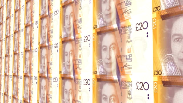 banknotes of twenty pounds sterling of gibraltar, cash money - pound sterling symbol stock videos & royalty-free footage