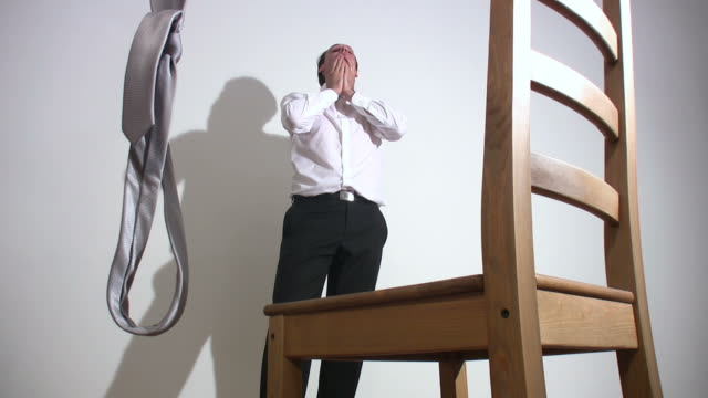 bankrupt businessman commits suicide - hanging execution stock videos and b-roll footage