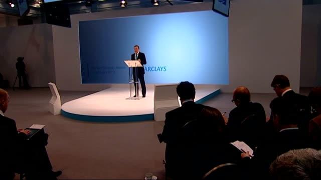 barclays cuts thousands of jobs in overhaul; england: london: int various cutaway shots antony jenkins speech antony jenkins speech sot - we are... - 画面切り替え カットアウェイ点の映像素材/bロール
