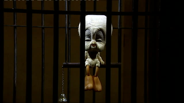 banksy show at bristol museum and art gallery england bristol int exhibits in banksy art show including animated tweety pie rabbit filing nails and... - beautician stock videos & royalty-free footage