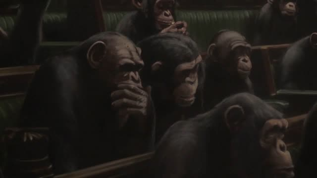 banksy's portrayal of the house of commons reduced to an assembly of parliamentary primates will go on public display in london for the first time at... - サザビーズ点の映像素材/bロール