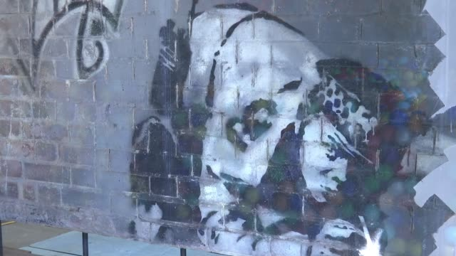 banksy's 'snorting copper' artwork back in shoreditch after restoration england london shoreditch ext banksy mural 'snorting copper' in window banksy... - snorting cocaine stock videos & royalty-free footage