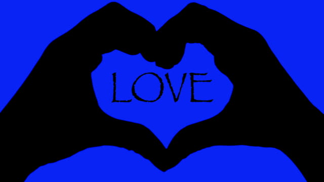 Banner hands heart over LOVE text blue background