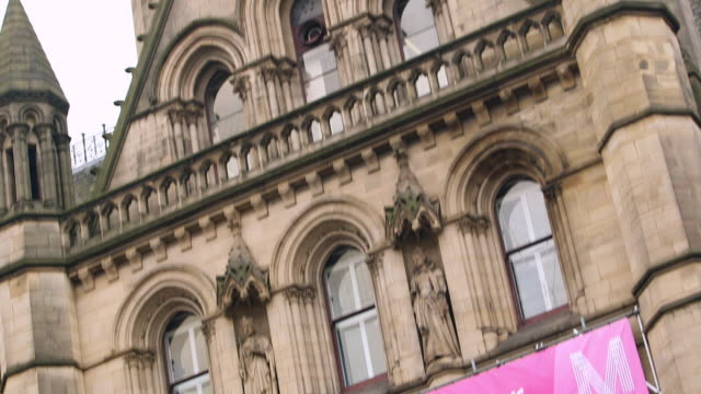 MS TD Banner on facade of town hall / Manchester, England, United Kingdom