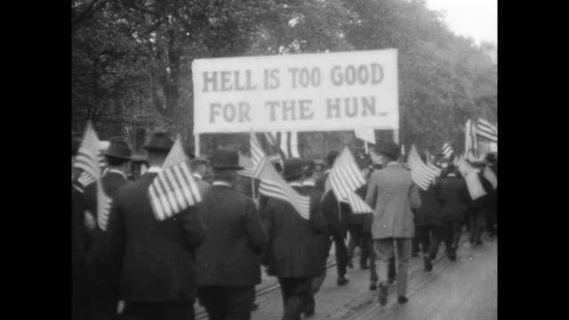 banner saying 'hell is too good for the hun' - dearborn michigan stock videos and b-roll footage