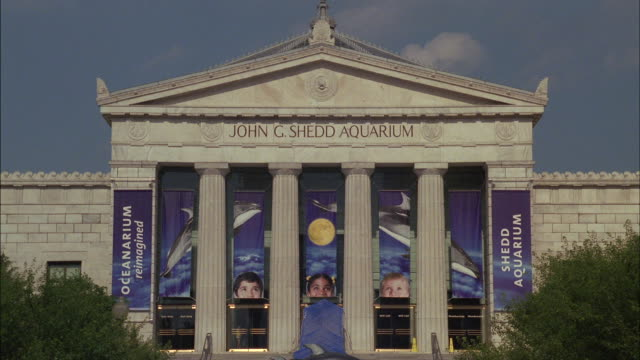 banners hang between the columns on the exterior of the john g shedd aquarium. - shedd aquarium stock videos and b-roll footage