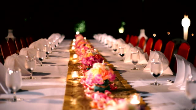 Banquet dinner in restaurant, table decoration for an event party.