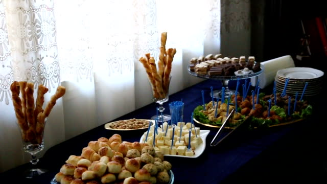 banquet prepared by a caterer - caterer stock videos and b-roll footage