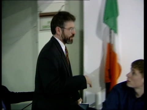 belfast sinn fein president gerry adams mla up stairs pan david trimble mla press conference sot this is a measure to be welcomed - sinn fein stock videos & royalty-free footage
