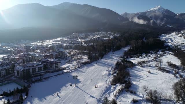 bansko ski resort home run, bansko, bulgaria, europe - bulgaria stock videos & royalty-free footage