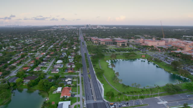 aerial baptist hospital, miami, florida at sunset - grove stock videos & royalty-free footage