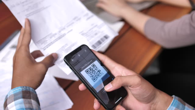 bar code bill mobile payment - online banking video stock e b–roll