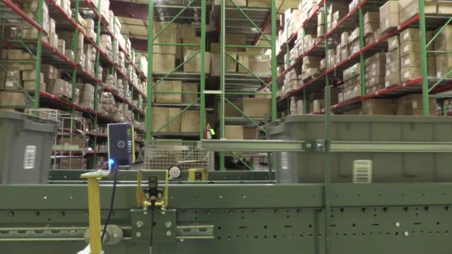 Bar code scanners scanning on a conveyor roller line
