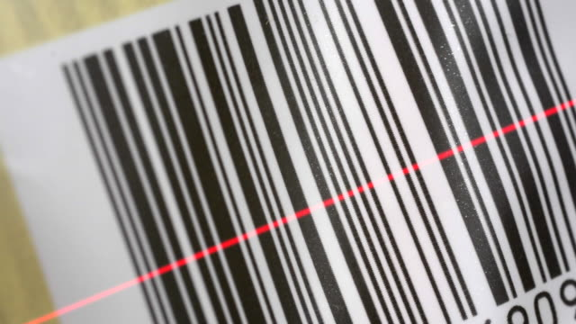 Bar code with a laser scanner beam.