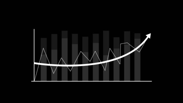 bar graph and linear ascending graphs in white, arrow hud - graphical user interface, matte - image technique alpha channel. matte - image technique - matte board stock videos & royalty-free footage