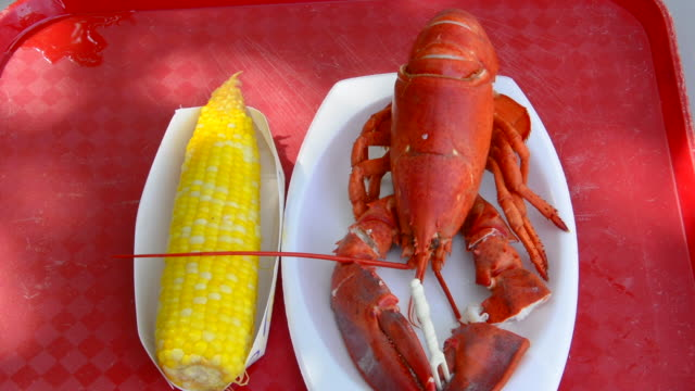 Bar Harbor Maine traditional lobster dinner with corn specialty of Maine