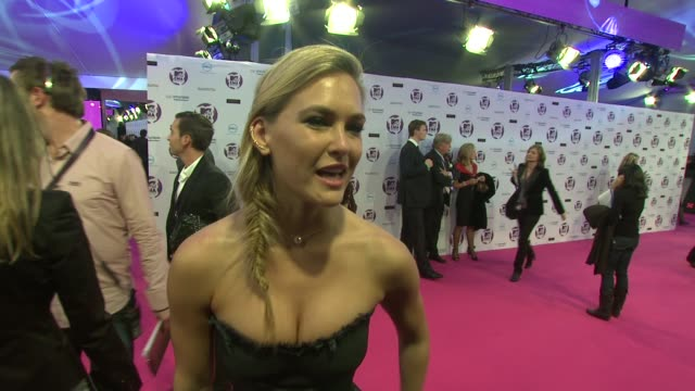 bar refaeli on who'd she's currently listening to, what she's looking forward to happen in the evening at the mtv europe music awards 2011 arrivals... - mtv video music awards stock videos & royalty-free footage